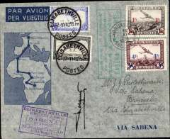 (Belgium) Sabena F/F extension of the regular service to Elisabethville, round trip all the way by air, Brussels to Elisabethville, bs 21/11, and return to Brussels 29/11,  Sabena Brussels-Elisabethville F/F souvenir cover franked Belgium 5F, canc Brussels 15/11 cds, and Congp 5F canc Elisabethville 21/11,  green framed  Brussels-Elisabethville F/F and purple framed Elisabethville Bruxells/Sabena 23-11-1935 flight cachets, signed by the pilot Captain Prosper Cocquyt. Nice item.