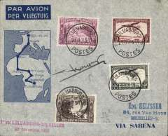 "(Belgian Congo) Sabena, First regular return flight, Luluaborg to Brussels, 29/11, F/F souvenir cover franked 3.80F,  red two line ""1ier Vol Luluaborg to Brussels/23 Novembre 1935"", flight cachet, signed by the pilot Captain Prosper Cocquyt."