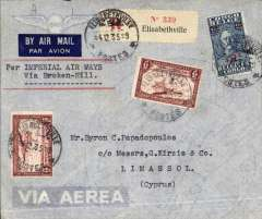 """(Cyprus) Regie Malgache/Imperial Airways, Elisabethville to Limassol, bs, via Cairo 12/12, imprint etiquette registered (label) commercial airmail cober, franked 14F typed """"Imperial Airways/Via Broke Hill"""". RM to Broken Hill, then IAW to Cairo. Nice."""