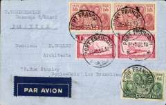 (Belgian Congo) Port Franqui to Brussels, no arrival ds, plain cover ranked 5F, dark blue/white airmail etiquette.