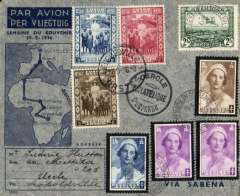 (Belgian Congo) Memorial Week for Queen Astrid, Ostend to Leopoldville, bs 7/9 and return to Uccle, souvenir cover franked 5F Belgium and 5F25 Congo stamps.