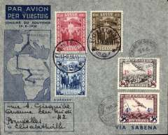 (Belgian Congo) Memorial Week for the late Queen Astrid, Ostend to Leopoldville, bs 8/9, and return 11/9 to Brussels, F/F Bruxelles-Elisabethville souvenir cover, franked Belgium 5F and Congo 5.25F Congo stamps.