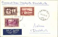 (Algeria) Scarce Algeria acceptance for Elisabethville for carriage on the accelerated Sabena service from Brussels to Elisabethville, Nawratil cover franked  4F canc Oran cds, ms 'Par Avion Belge Oran-Congo Belge'. Few, if any, other Algeria acceptances for this flight exist.