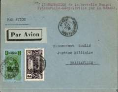 "(French Equatorial Africa) French Equatorial Africa to Middle Congo, scarce acceptance for carriage on the accelerated Sabena service from Brussels to Elisabethville, Oubangui-Chari to Brazzaville, bs 29/10, plain airmail etiquette cover franked  1F50 canc Oran cds, typed ""Inauguration de la bretelle Bangui/Brazzaville-Leopoldville par la Sabena"" ."