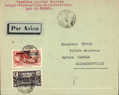 """(French Equatorial Africa) French Equatorial Africa to the Congo, scarce acceptance for carriage on the accelerated Sabena service from Brussels to Elisabethville, Bangui (Oubangui-Chari) to Elisabethville, bs 29/10, plain airmail etiquette cover franked  2F50 canc Oran cds, typed """"Premier laison directe/Bangui-Stanleyville-Elisabethville/par la Sabena""""."""