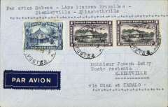 "(Belgian Congo) F/F Thysville to Albertville, bs 30/10, via Leopoldville 24/10 and Kabalo 20/10, carried on the accelerated Sabena service from Brussels to Elisabethville, airmail etiquette cover franked 2F25, typed ""Par avion Sabena 1ere laison Bruxelles/Stanleyville-Elisabethville"". A puzzling combination of internal routes - one for the specialist."