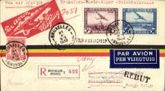 "(Belgium) Brussels to Elisabethville, 12/11, via Marseilles 1/11,  carried on the first accelerated Sabena Brussels to Elisabethville service via the NEW (via Stanleyville) schedule, registered (label) red/yellow/black stripe airmail cover franked 5F50, type ""Via Air Afrique/Bruxelles-Paris-Alger-Elisabethville"". Intended for 1sr Air Afrique flight, but this was deferred for several weeks. So carried on the second Sabena flight. A nice historical item and one for the exhibit."