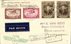 "(Belgian Congo) First acceptance for the new Regie Malgache service to Madagascar, Ponthierville to Tananarive, bs 31/10, via Elisabethville 29/10, van Reet cover franked 8F50, green first flight cachet, ms ""Por 1er courrier aerienne/Ponthierville-Tananarive."