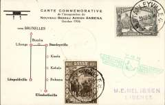 (Belgian Congo) F/F Stanleyville to Libenge, bs 5/11, carried on the accelerated Sabena service from Elisabethville-Brussels, souvenir card, franked 1F40, green Sabena F/F cachet.