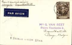 "(Belgian Congo) F/F Kongolo to Coquilhatville 3/11, via Kabalo 28/10 and Stanleyville 30/10, carried on the accelerated Sabena service from Elisabethville-Brussels, Van Reet cover , franked 1F25, black two line ""1er Avion Sabena/Kabalo-Stanleyville"" cachet. Superb routing."