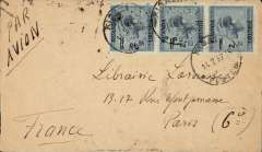 (Ruanda-Urundi) Kigali to Paris, bs 25/2, via Kampala 18/2, plain cover franked strip of three 2/1.75c opts for correct rate, ms 'Par Avion'. Bottom edge nibble verso. By road to Kampala, then Imperial Airways to Europe.