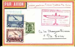 "(Belgium) Air France/Aeromaritime extension to Douala and Pointe Noire, Brussels to Pointe Noire (French Congo), bs /6/, via Douala 19/5, Nawratil red/yellow/black border airmail envelope franked 4F85, red framed ""Service Aerien Senegal-Congo/Aeromaritime/1er voyage Mai 1937/en laison avec/Air France Air Afrique"", ms ""Inauguration Paris-Dakar-Pointe Noire""."