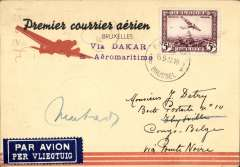 "(Belgium) Air France/Aeromaritime extension to Douala and Pointe Noire, Brussels to Thysville (Congo) via Paris 15/5, and on to Matadi 27/5, van Reet red/yellow/black border ""Premier courrier aerien"" airmail card, uncommon violet two line ""Via Dakar/& Aeromaritime"" cachet ""Inauguration Paris-Dakar-Pointe Noire""."