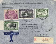 (Belgian Congo) Aeropostale, F/F Pointe Noire to Dakar, bs 24/3, registered (label) airmail cover franked 11F50.