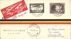"(Belgian Congo) F/F accelerated Air France connection Elisabethville-Europe, Kabalo to Stanleyville, bs 4/6, red/yellow/black 'stripe' Godinas cover franked franked 60c, ""Air Afrique"" hs, ms ""Kabalo-Stanleyville""."