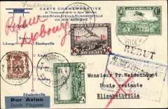 "(Luxembourg) Luxembourg acceptance for F/F accelerated Air Afrique connection Algiers-Elisabethville, Luxembourg to Elisabethville, bs 17/6, via Brussels 11/6, commemorative card with diagram of route dual franked with Luxembourg 50c and Belgium 3F30, blue framed ""1er Service Aerien/Francais Directe/Europe-Congo-Madagascar/par Stanleyville"" cachet on front, and red framed  ""1er Service Aerien/Francais Directe/Europe-Congo-Madagascar/par Stanleyville"" cachet verso, dark blue/black 'Par Avio/Durch Flugpost' etiquette."