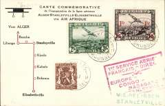 "(Belgium) F/F accelerated Air Afrique connection Algiers-Elisabethville, Brussels to Stanleyville, commemorative card with diagram of route franked 3F30, red framed  ""1er Service Aerien/Francais Directe/Europe-Congo-Madagascar/par Stanleyville"" cachet."