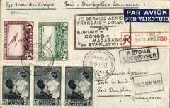 """(Belgium) F/F accelerated Air Afrique connection Algiers-Elisabethville, Brussels (Air Show) to Fort Dauphin 24/6 via Tananarive 20/6 and Ihosy 22/6, registered (label) cover franked 9F10, canc Brussels Air Show 28/5 cds, black framed  """"1er Service Aerien/Francais Directe/Europe-Congo-Madagascar/par Stanleyville"""" cachet, ms """"Par Avion Air Afrique/Paris-Stanleyville-Tananarive"""". The Belgian PO was willing to hold back this cover until the right time for the Air Afrique connection."""