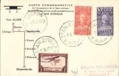 (Belgian Congo) F/F accelerated Air Afrique connection Elisabethville-Europe, Stanleyville to Brussels, Laeken 9/6 arrival ds on front, bs Esnaux 9/6, commemorative card with diagram of route franked 3F30.