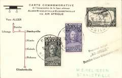 "(Belgian Congo) F/F accelerated Air Afrique connection  Algiers-Elisabethville, Bumba to Stanleyville, bs 16/6, commemorative card with diagram of route franked 65c, black three line ""Premier avion/Air Afrique/Bumba-Stanleyville-Elisabethville"" flight cachet."