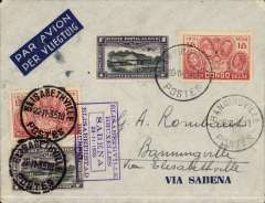 (Belgian Congo) Sabena F/F extension of the regular service to Elisabethville, round trip Banningville-Elisabethville, 22/11 - Banningville 24/11, blue/grey Sabena  cover franked Congo 2F25 (postmarked Banningville 20/11) and 2F25 (postmarked Elisabethville 22/1), purple framed Elisabethville Bruxelles/Sabena 23-11-1935 flight cachet.
