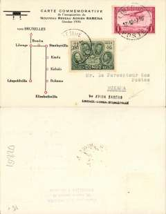 "(Belgian Congo) Sabena, first mail from Libenge to the interior of the Congo, Libenge to Bukama, no arrival ds, commemorative card with map of route, franked 1F50, black two line ""1re Avion Sabena/Libenge-Bumba-Stanleyville""."