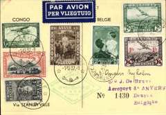 (Belgium) Special mail carried to the Congo, Stanleyville 1/10 arrival ds, and back on the occasion of the opening of the permanent aeronautical exhibition at Antwerp, Souvenir card, franked 3F 35 Belgian and 2F 5 Congo stamps, showing Icarus verso.