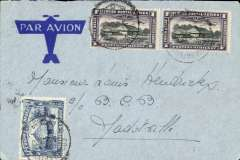 (Belgian Congo) Internal airmail, Coquilhatville to Jadotville, bs 19/9, via Luluabourg, 15/9 transit cds, imprint airmail cover franked 3F 25. Nice routing.