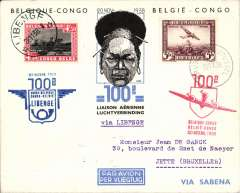 (Belgium) Brussels to Libennge, and return, commemorating the 100th flight, fully franked, cacheted and bs, souvenir cover, Sabena.