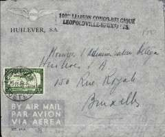 (Belgian Congo) Leopoldville to Brussels, imprint etiquette cover franked 16 x 1F 50 stamps (15 verso), black two line cachet commemorating the 100th flight Congo-Belgium, Sabena. Commercial cover with exceptionally high franking.