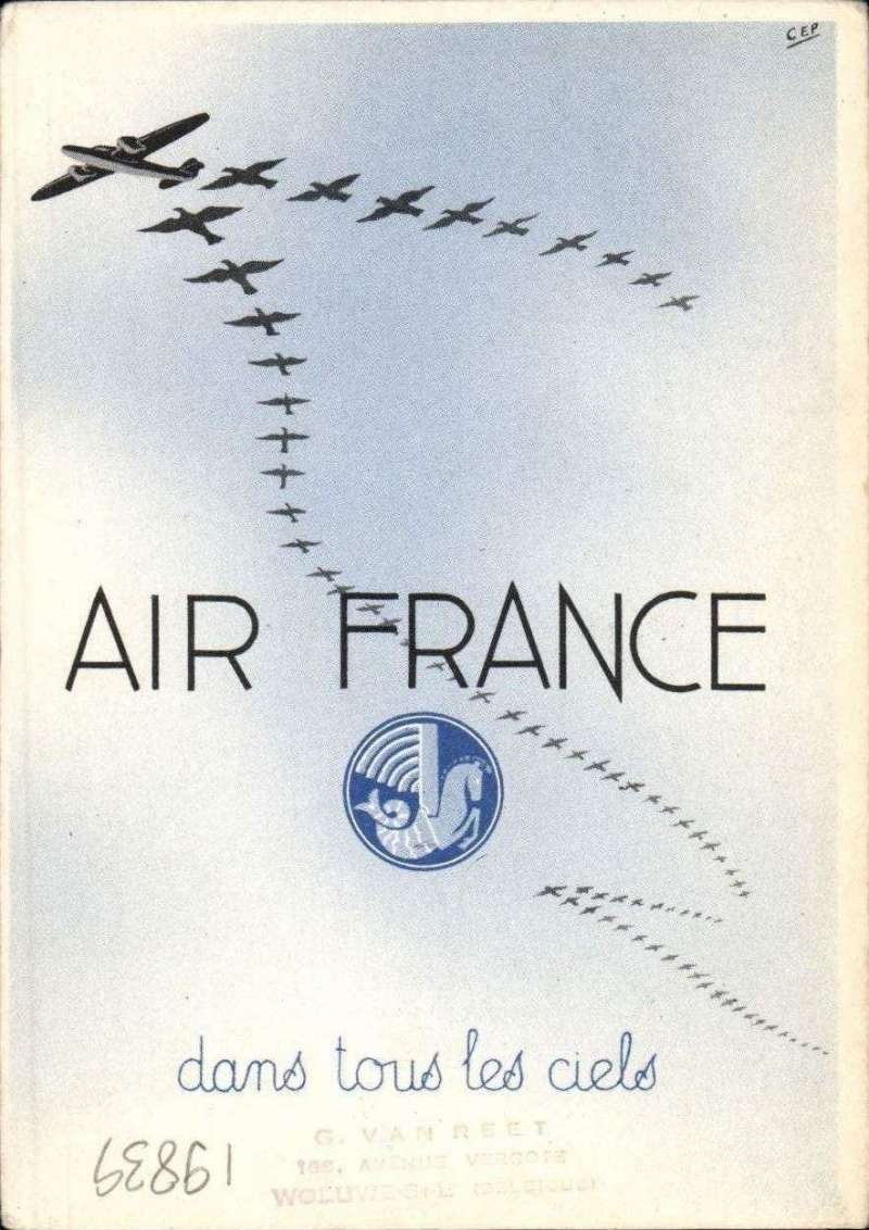 (Belgium) Christmas and New Year Air France publicity greetings card, Brussels to Elisabethville, 30/12 arrival ds on front. Franked 1F, although the card enjoyed a reduced tariff, against the normal 3F.  Verso shows a design of aircraft/birds in arrowhead formation. Scarce.