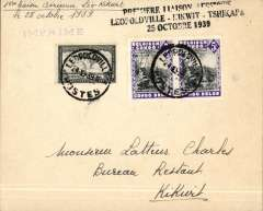 (Belgian Congo) F/F new service, Leopoldville to Kikwit, bs 25/10, plain cover franked 60c, black three line F/F cachet.
