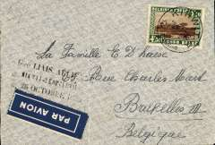 "(Belgian Congo) Kikwit to Brussels, no arrival ds, carried on F/F new service, Kikwit to Leopoldville, plain cover franked 4F50, black ""1ere Laison/Kikwit-Leopoldville/26 Octobre 1939""."
