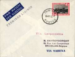 (Belgian Congo) F/F new service, Tshikapa to Brussels, no arrival ds, imprint etiquette cover franked 4F 50, black straight line 'Premier Laison' and red straight line 'Via Leopoldvillle' cachets.