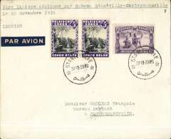 (Belgian Congo) WWII, F/F new Sabena internal route between Stanleyville and Usumbura, Stanleyville to Costermansville, bs 28/11, plain cover franked 60c, typed '1 iere laison aerien par Sabena Stanleyville-/Le 26 novembre 1939""