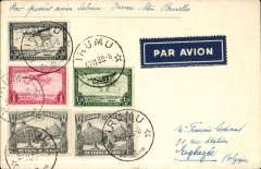 "(Belgian Congo) WWII, F/F new Sabena internal route between Usumburu-Stanleyville, Irumu to Eghezee, Belgium, bs Leuven 14/12, plain cover franked 3F 30, ms 'Par Premier avion Sabena Irumu-Stan"". Due to the outbreak of war, mail went by air to Algiers only. Nice WWII item"