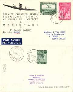 (Belgium) First connection between the Sabena internal service to Usumbura, and the Kikwit-Tshikapa service, Brussels to Irumu, bs 18/2, Van Reet printed souvenir cover franked 3F 25 + 35 verso.