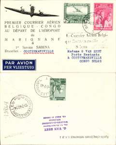 (Belgium) First connection between the Sabena internal service to Usumbura, and the Kikwit-Tshikapa service, Brussels to Costermansville, bs 18/2, Van Reet printed souvenir cover franked 3F 25 + 35 verso.