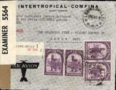 "(Belgian Congo) WWII dual censored mail to the USA, Leopoldville to Ohio, bs 7/4/41, via Matadi 15/10, Lisbon **Feb 42 and New York, bs 6/3/41, printed registere4d (label) commercial air cover franked 20F, typed ""Bateau Portuguese jusqu'a Lisbonne/ *****par avion CLIPPERS jusqu'a New York"", 