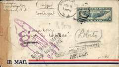 (United States) Airmail cover to member of ship's crew, Englewood, NJ to Lisbon, 21/2 whre it languished until 'ms' 11/8/41, airmail cover franked US 30c air, and onward for eventual return to sender via Elisabethville (Congo) 9/9, Lobito (Angola) 15/9, Cape Town 7/10 where it was sealed with South Africa red/buff censor tape, and evetually to Washington, USA 7/11 and returned to sender. Sent on a 9 moth tour due to insufficient addressee details. The most likely name of the vessel is 'Lobito, hence the mistaken mailing to Angola. The 'Lobito' was a small, old vessel registered with the Colonia Companhania de Navegacao, based in LIsbon. A superb item.
