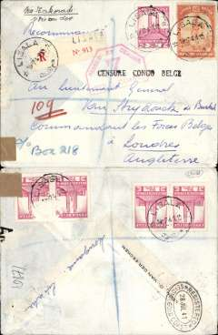 "(Belgian Congo) Congo to England, a flown World War II dual censored cover, Lisala to London, no arrival ds, via Sekondi, Gold Coast, 28/7 registered val ds, franked 15F 25 (4x 0.75 verso, 2 damaged by possible removal of overlying stamp see scan), ms ""Via Takoradi"", red ""Passed Censor/7Gold Coast"" censor mark, sealed B&W UK PC90 censor label (95% has been removed).  The Congo remained neutral until Gemany invaded Belgium in May 1940, after which, acting as an independent nation, it declared war on Germany and actively assisted the Allies by allowing open access to its airports and other facilities. One such outcome was to extend the internal Congo service to Lagos and Takoradi, using SABENA planes quarantined in the Congo post May 1940,  thus opening a new route across Central Africa. This particular cover was carried to Takoradi on this service. It was then likely transferred to a BOAC flying boat for OAT to England on the BOAC West Africa Coast Route. Ref Boyle pp 45, 725-727.  An historic WWII item."