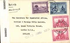 "(Ruanda-Urundi) WWI censored air cover, Usumbura to London, no arrival ds, via Coquilhatville 28/8 and Leopoldville 28/8, plain cover franked 4F 75 Ruanda-Urundi stamps, ms 'Par AvionLeopoldvillee', black st. line ""Censure Congo Belge (Usumbura) censor mark, sealed B&W Censure/Congo Belge censor tape."