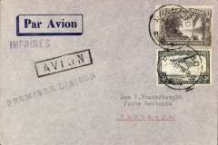 "(Belgian Congo) Extension Leopoldville-Tshikapa service to Luebo,F/F Luebo to Tshikipa, bs 1/11, imprint etiquette cover franked 60c, bkack st. line ""Premier Laison"" cachet."