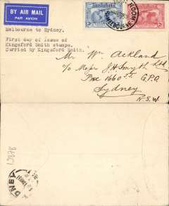"(Australia) FDI Kingsford Smith 2d, 3d on plain cover flown Melbourne-Sydney, bs 19/3, typed ""Melbourne to Sydney/First day of issue of/Kingsford Smith stamps/carried by Kingsford Smith"", Australian National AW."