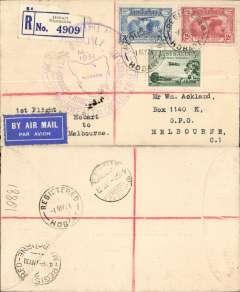 (Australia) Australian National Airways, F/F Hobart to Melbourne, bs 1/5, registered (label) cover franked 3d,3d,2d airs, large circujlar violet flight cachet