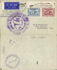 (Australia) Australian National Airways, F/F Perth to Launceston, bs 2/5, plain cover franked 3d,2d Kingsford Smith airs, large circujlar violet flight cachet
