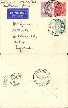 (Australia) Return of second experimental flight England-Australia, Melbourne to London, bs Huddersfield 5/6, plain cover franked 1/11d, canc Cremorne 13/5, ANA, Qantas, Imperial Airways.