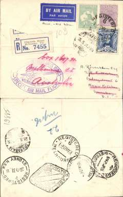 (Australia) KLM return flight Melbourne(22/5) to Soerbaja, Java, bs 28/5, via Sydney 23/5, Batavia (Abel Tasman/Batavia-Centrum cachet) 27/5 verso, special oval Melbourne to Batavia violet cachet, plain reg (label) cover, franked 2/3d.