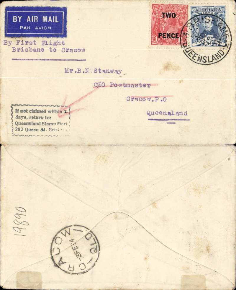 "(Australia) Aircrafts Pty Ltd, F/F Brisbane to Cracow, bs 3/2, plain cover franked 5d, typed ""By First Flight/Brisbane to Cracow""."