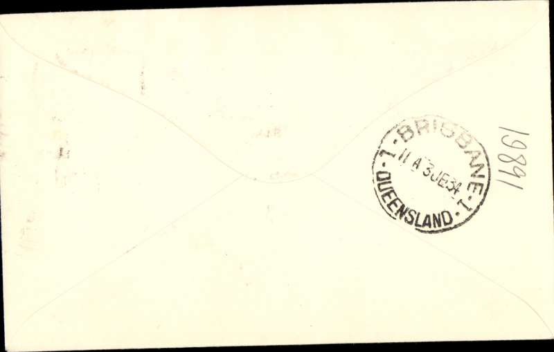 (Australia) F/F Mundubbera to Brisbane, bs 3/6, plain cover franked 5d inc 2d 'OS' perfin, white/pale blue 'Noth Queensland' air mail label (scarce on cover), Aircrafts Pty. Ltd